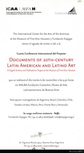 "Cuarta Conferencia internacional del proyecto ""Documents of 20th-Century Latin American and ..."
