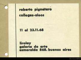 "Folleto de la exposición ""Roberto Pignataro: collages-óleos"""
