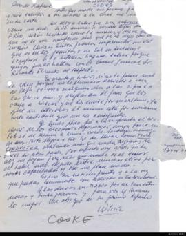 Carta de Willie Cooke a Rafael Squirru