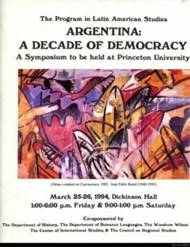 Argentina: a Decade of Democracy: afiche de invitación