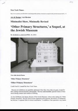 Minimalist show, minimally revised: 'Other primary structures', a sequel, at the Jewish Museum